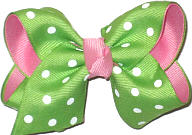 Apple Green with White Dots over Pink Grosgrain Dots