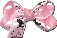 Small Looped Poodle Print on Pink Satin over Pink Grosgrain Small