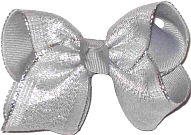 Millenium Gray with Chiffon Silver Stripe Overlay Glitter and Metallics