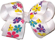 Multicolor Floral Print Over White Grosgrain Floral
