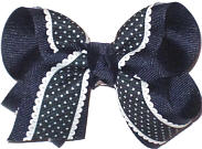 Navy with Scalloped Edge and White Pin Dot Scalloped Edge
