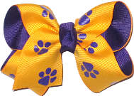 Regal Purple with Yellow Gold and Purple Paw Prints Printed Pattern