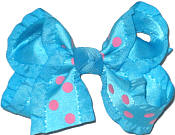 Turquoise and Hot Pink Dot Satin Ruffled Edge Ruffled Edge