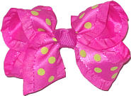 Raspberry Rose with Neon Lime Dot Satin Ruffled Edge Ruffled Edge