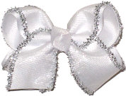 White with Flocked Silver edge Chiffon Glitter and Metallics