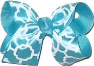 Aqua and White Satin Quatrafoil over Aqua Quatrafoil