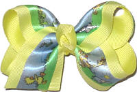 Satin Duckie Print over Baby Maize Printed Pattern