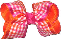 Shocking Pink Orange and White Check over Orange Checks and Plaids