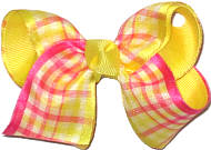 Shocking Pink and Maize Check over Maize Checks and Plaids