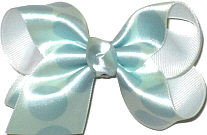 Satin Aqua with Light Blue Dots Dots