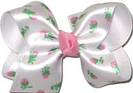 Toddler Bow with Satin Floral Print Floral