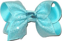 Aqua Glitter over Aqua Grosgrain Glitter and Metallics
