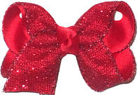 Red Shimmering Mesh over Red Grosgrain Glitter and Metallics