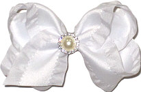 Toddler White Ruffled Edge with Pearl and Rhinestone Center