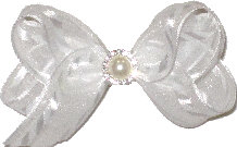 Small White Chiffon with Pearl and Rhinestone Center