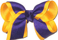 Toddler Regal Purple and Yellow Gold Double Layer Overlay Bow