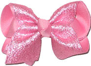 Toddler Silver Glitter Chiffon over Pink Double Layer Overlay Bow