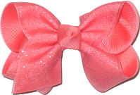Toddler Coral Glitter over Coral Bow