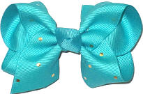 Toddler Blue Lagoon with Metallic Gold Mini Dots Bow