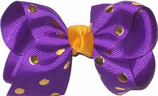 Toddler Regal Purple with Metallic Gold Dots and Yellow Gold Knot Bow