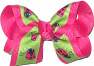Toddler Pistachio with Lady Bugs over Shocking Pink Double Layer Overlay Bow