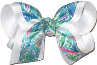Toddler Lilly Pulizter Tropical Rainforest over White Double Layer Overlay Bow