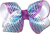 Toddler Silver Blue and Purple Satin Stripes over White Double Layer Overlay Bow