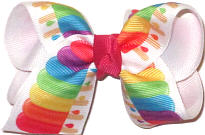 Toddler Bright Multicolor Popsicles over White Double Layer Overlay Bow