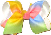 Toddler Pastel Stripes over White Double Layer Overlay Bow