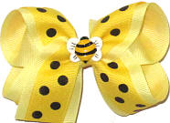 Toddler Bumble Bee Miniature on Maize with Black Dots over Baby Maize Double Layer Overlay Bow