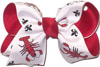 Toddler Crawfish with Fleur de Lis over Red Double Layer Overlay Bow