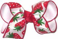 Toddler Strawberries on White Satin over White Double Layer Overlay Bow
