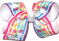 Toddler Rainbow Unicorns over White Double Layer Overlay Bow