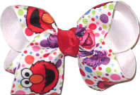 Toddler Sesame Street Elmo over White Double Layer Overlay Bow