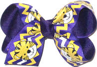 Toddler Purple and Gold Tiger Cub over Purple Double Layer Overlay Bow