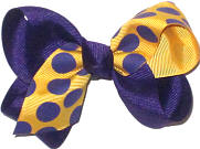 Toddler Purple Coin Dots on Yellow Gold over Purple Double Layer Overlay Bow