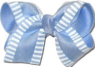 Toddler Chiffon with White Stirpes over Millenium Blue Double Layer Overlay Bow