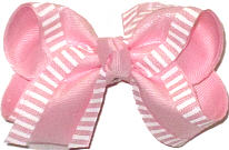 Toddler Chiffon with White Stripes over Pink Double Layer Overlay Bow