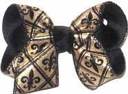 Toddler Gold with Black Fleur de Lis over Black Double Layer Overlay Bow