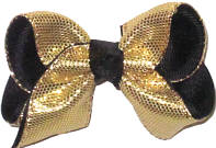 Toddler Metallic Gold Snake Skin over Black Double Layer Overlay Bow