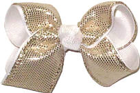 Toddler Platinum Metallic Snakeskin Over White Double Layer Overlay Bow