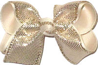 Toddler Platinum Metallic Snakeskin Over Ivory Double Layer Overlay Bow