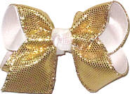 Toddler Gold Metallic Snakeskin Over White Double Layer Overlay Bow