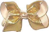 Toddler Gold Metallic Snakeskin Over Ivory Double Layer Overlay Bow