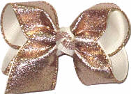 Toddler Rose Gold Metallic Sharkskin Over White Double Layer Overlay Bow