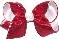Toddler Red Metallic Snakeskin Over White Double Layer Overlay Bow