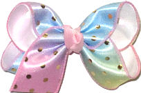 Toddler Metallic Gold Dots on Pink Blue and Green Pastel over White Double Layer Overlay Bow