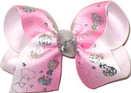 Toddler Silver Hologram Bows on White to Pink Gradient Pastel over White Double Layer Overlay Bow
