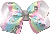 Toddler Silver Hologram Bows on Pink Blue Green and Yellow Pastel over White Double Layer Overlay Bow