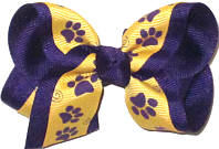 Toddler Purple Paw Prints on Yellow Gold over Purple Double Layer Overlay Bow